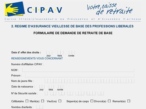 Formulaire de demande de retraite de base Cipav