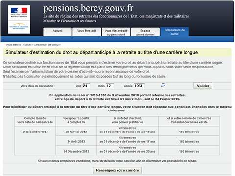 Calculateur retraite fonction publique for Calcul precompte
